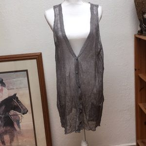 Eileen Fisher gray steel moon long vest.
